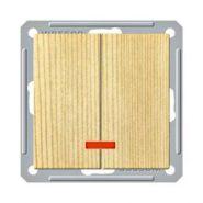 Выключатель 2-х клавишный с индикатором (250В, 16А, сосна)
