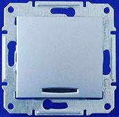 Переключатель одноклавишный 16А с подсветкой Sedna (алюминий)