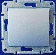 Двухполюсный выключатель 16А одноклавишный с индикацией Sedna (алюминий)