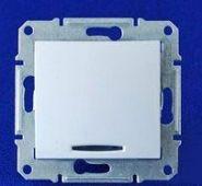 Выключатель одноклавишный с подсветкой Sedna (белый)