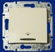 """Кнопочный выключатель с символом """"свет"""" Sedna (белый)"""